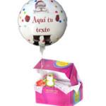 Globo navideño personalizadoTus mejores deseos saliendo de una caja en forma de globo de helio. ¡Adorable!
